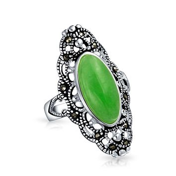 Oval Dyed Jade Armor Full Finger Ring Marcasite 925 Sterling Silver