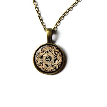 Dragon necklace Nordic jewelry Pagan pendant NW293