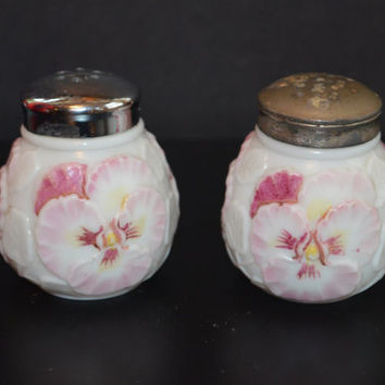 Consolidated Milk Glass Pansy Salt & Pepper Shaker Set EAPG Glass