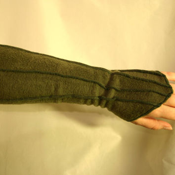 Made to Order: Fingerless Psy Elven Faery Fleece Gloves with Overlock Details, Many Colors