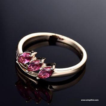 3 stone Ruby CZ Finger ring