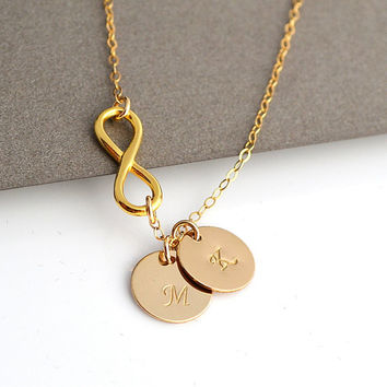 Infinity Initial Necklace, Personalized Gold Necklace, Monogram Letter, Custom Stamped Disc, Two Discs