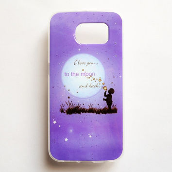 Samsung Galaxy S5 Quote Case Soft Plastic Galaxy S5 Back Cover Love You To The Moon And Back Samsung S5 Cover
