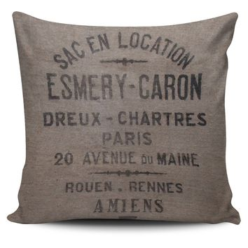 Pillow Cover Farmhouse Chic Antique Grain Sack Design Farm House Style