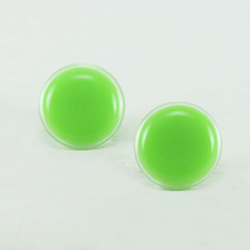 Neon Green Stud Earrings 20mm - Neon Green Big Earrings - Neon Green Round Dainty Ear Stud - Waterproof Studs - Surgical Steel Post Earrings