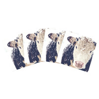 "Debbra Obertanec ""Snowy Cow"" Black White Indoor/Outdoor Place Mat (Set of 4)"