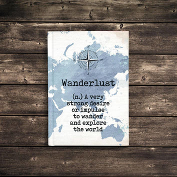 Custom Journal, Personalized Notebook, 5x7 Hard Cover Journal, travel map, Blank or Lined pages - Wanderlust Definition