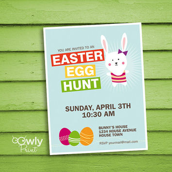 Printable Personalized Easter Egg Hunt Invitation (blue). Ready to print Egg Hunt Invitation. Printable easter egg hunt invitation.