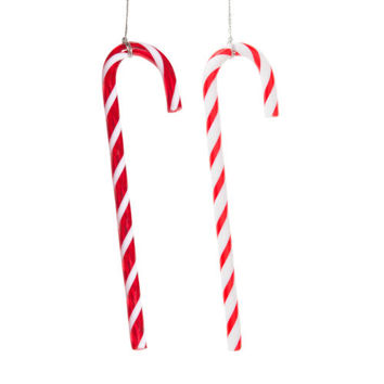 Sugar cane Christmas tree decorations, red/white, H 15 cm | Maisons du Monde