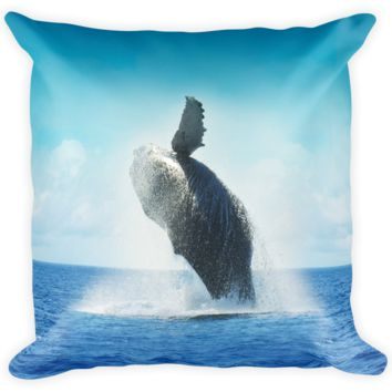 Decorative Throw Pillow / California Humpback Whale jumping in Pacific Ocean