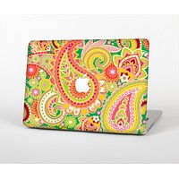 The Vibrant Green and Pink Paisley Pattern Skin Set for the Apple MacBook Air 11""