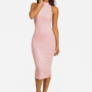 SLEEVELESS MOCK NECK MIDI DRESS (PINK)