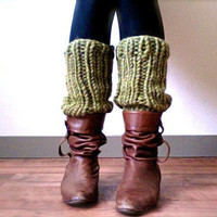 Grass Green Knitted Legwarmers -Made to Order