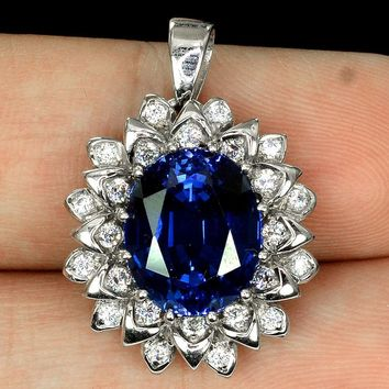 Vintage 8CT Oval Cut Blue Sapphire Pendant Necklace