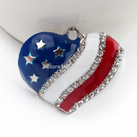 4th of July Patriotic Sale 35mm Red White Blue Heart Beads Americian Flag Rhinestone Alloy Necklace Pendants 1pcs