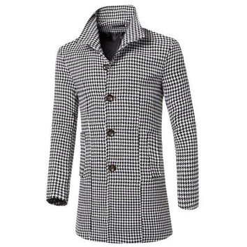 Korean Style Fashion Single-breasted Plaid Men Wool Trench Coat Long Stand Collar Slim Wool Long Men Trench Overcoat M-3XL