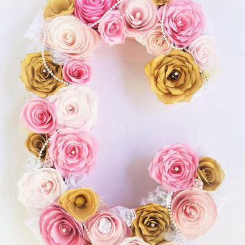 Pink and gold paper flower letter - floral letter - pearl and lace flower letter - floral nursery letter - floral initial decoration