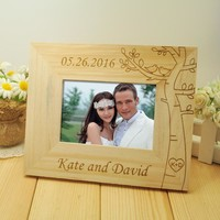 Personalized Wedding photo frame, Wooden Wedding Couple Pictures Frames, Rustic Frame, Home Decor, Wedding Gift, 5 inch photo