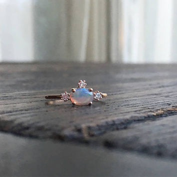 Fairy Princess, Opal Ring, Opal Engagement Ring, Opal Diamond Ring, One of a Kind Ring, Unique Engagement Ring, Opal Wedding Ring, Pink Gold