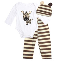 3PCS Baby Cotton Romper Set Infant Boys Girls Cartoon Animal Clothing Sets Cute Infant Soft Long Sleeve Jumpsuit +Hat+Pants
