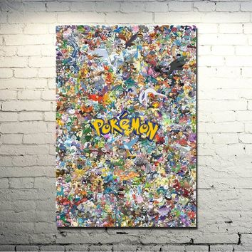 Xy Anime Game Art Silk Fabric Poster Canvas Print 13x20 24x36 Inches Pocket Monster Pikachu Picture For Home Decor 086Kawaii Pokemon go  AT_89_9