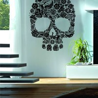 Floral Skull Decal Sticker Wall Vinyl Day of the Dead Art Flowers