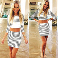 Sexy two pieces black white stripe  short sleeves dress 2546312