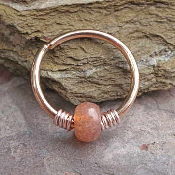 Copy of 16g 18g or 20 Gauge Rose Gold Beaded Nose Hoop Ring or Cartilage Hoop Earring