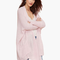 Pink Long Sleeve Side Pocket Knitted Cardigan