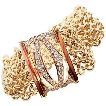 Cartier Penelope Diamond Double C Five-Row Yellow Gold Bracelet