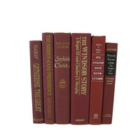 Dark Red Burgundy Decorative Books for Display, S/6