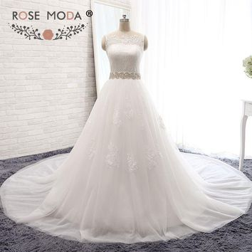 Rose Moda High Neck Princess Tulle Ball Gown Lace Wedding Dress with Crystal Sash Church Wedding Dresses