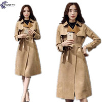 TNLNZHYN Faux suede Trench coat new autumn fashion casual Clothing women coat large size lapel female Windbreaker Outerwear QQ08
