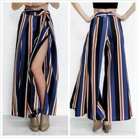 Stripes Pants Summer Dress Waistband [11405223119]