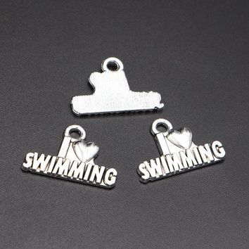 Swimming Pool beach XCHARMS 15pcs Charms I Love Swimming 22*16mm Pendants Making DIY Handmade Silver Necklace Vintage Jewelry Finding AccessoriesSwimming Pool beach KO_14_1