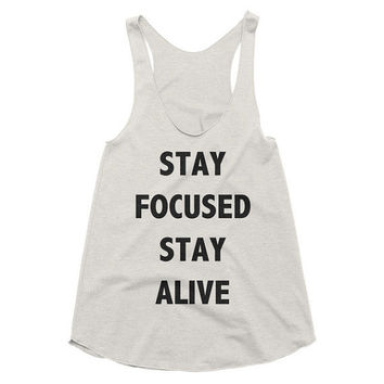 Stay focused Stay alive, workout, comfy, xbox, racerback tank, Funny, Gym Tank, Yoga Top, hot yoga, Gym Top, black ops, call of duty