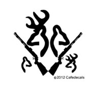 8 Inch Deer Buck Doe with Rifle and Babies Decal Sticker