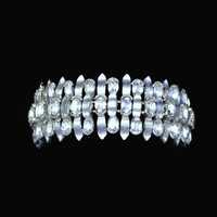 Crown Trifari Rhinestone Bracelet In Brushed Silver Tone, Bridal Jewelry