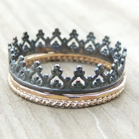 Black and Gold Crown ring set. 14karat Gold twisted and hammered rings with black oxidized crown ring. made to order