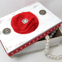 Red and White Christmas Gift Box - Keepsake Box - Rustic Box - Decorative Box - Holiday Gift Box - Silver Accents - Bright Red and White