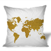 Gold World Gold glitter world map on Square Pillow Cover