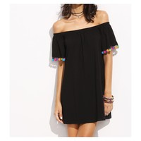 Black Off the Shoulder Pom Pom Shift Dress