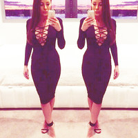 Cut-out Deep V-Neck Cross Straps Long Sleeves Bodycon Dress