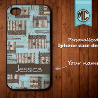 Personalized iPhone Case - Plastic or Silicone Rubber Monogram iPhone 4 4S Case Cover - K009