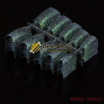 100pcs Beauty False Nails Dark Green Glitter Acrylic Nail Tips Plastic False French Acrylic Nail Art Tips Design NEW