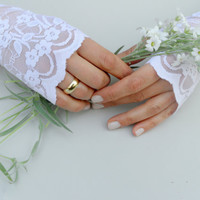 White Wedding Delicate Sheer White Stars and Mesh Lace Fingerless Gloves Arm Warmers, wedding, bridal, summer 2012