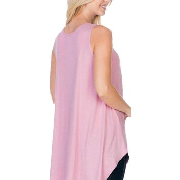 Sleeveless Fashion Tank Top, Mauve