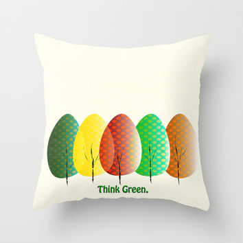 Love Nature. Love Trees Throw Pillow by Miss L In Art