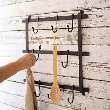 Forged Iron Wall Rack With Hooks