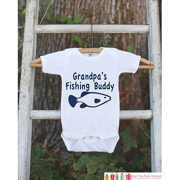 Grandpa's Fishing Buddy Onepiece Outfit - Father's Day Gift - Bodysuit for Newborn Baby Boys - Infant Outfit - Grandpa's Buddy Shirt w/ Fish